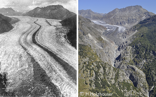 The Aletschgletscher in the year 1856 and today / photo: Hanspeter Holzhauser